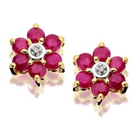 9ct Gold Diamond And Ruby Daisy Stud Earrings - 8mm - G0933