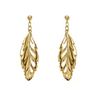 9ct Gold Long Leaf Drop Earrings - 40mm drop - G1008