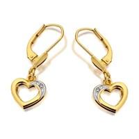 9ct Gold Diamond Heart Drop Earrings - G1052