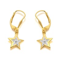 9ct Gold Two Colour Diamond Star Drop Earrings - 25mm drop - G1221