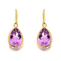 9ct Gold Amethyst Hook Wire Earrings  G1226