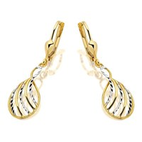 9ct Gold Two Colour Lattice Drop Earrings - 20mm drop - G1245