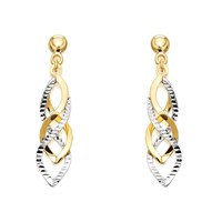 9ct Two Colour Gold Twist Drop Earrings - 35mm drop - G1412