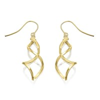 9ct Gold Spiral Continental Fitting Drop Earrings - 50mm drop - G1418