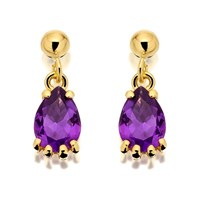9ct Gold Amethyst Teardrop Earrings  G1440