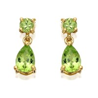 9ct Gold Peridot Drop Earrings - 12mm drop - G1509