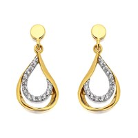 9ct Gold Cubic Zirconia Twist Pear Drop Earrings - 18mm drop - G1520