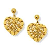 9ct Gold Heart Wire Drop Earrings - 15mm drop - G1614