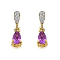 9ct Gold Amethyst And Diamond Teardrop Earrings  13mm drop  G1808