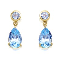 9ct Gold Blue Topaz Drop Earrings - 16mm drop - G1811