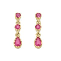 9ct Gold Ruby Drop Earrings - 18mm drop - G1812