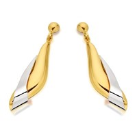 9ct Gold Two Colour Drop Earrings - 23mm drop - G1856