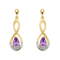 9ct Gold Diamond And Amethyst Figure Of Eight Drop Earrings - 26mm drop - G1892