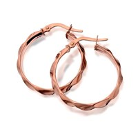 9ct Rose Gold Twisted Creole Hoop Earrings  20mm  G2104