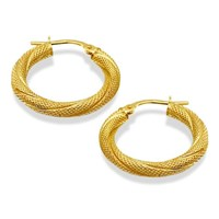 9ct Gold Twisted Mesh Creole Hoop Earrings  20mm  G2461