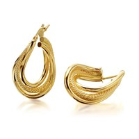 9ct Gold Triple Strand Twisted Creole Hoop Earrings  25mm  G2503