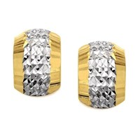 9ct Gold Two Colour Diamond Cut Half Hoop Earrings - G2513