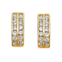 9ct Gold Two Row Cubic Zirconia Half Hoop Earrings - G2706
