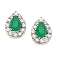 9ct Gold Green And White Cubic Zirconia Stud Earrings - 10mm - G2723