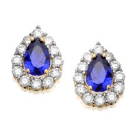 9ct Gold Blue And White Cubic Zirconia Stud Earrings - 10mm - G2724