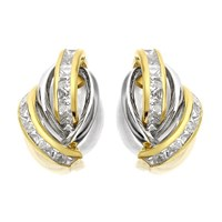 9ct Two Colour Gold Cubic Zirconia Stud Earrings - 15mm - EXCLUSIVE - G2744