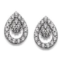 9ct White Gold Cubic Zirconia Teardrop Cluster Stud Earrings - 8mm - G2790