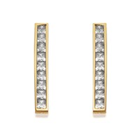9ct Gold Cubic Zirconia Bar Drop Earrings - 20mm drop - G2819