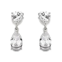 9ct White Gold Cubic Zirconia Heart And Pear Drop Earrings  13mm drop  G2876
