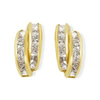 9ct Gold Two Row Cubic Zirconia Stud Earrings - 10mm - G2924