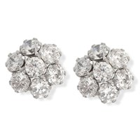 9ct White Gold Cubic Zirconia Cluster Earrings - G2947