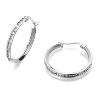 9ct White Gold Cubic Zirconia Creole Hoop Earrings - 15mm - G3227