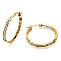 9ct Gold Cubic Zirconia Creole Hoop Earrings - 20mm - G3232