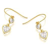 9ct Gold Cubic Zirconia Double Heart Hook Wire Earrings  25mm drop  EXCLUSIVE  G3294