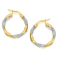 9ct Two Colour Gold Sparkly Twisted Creole Hoop Earrings  20mm  G4163