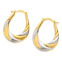 9ct Two Colour Gold Twisted Creole Hoop Earrings  27mm  G4182