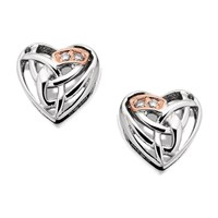 Clogau 9ct Rose Gold And Silver Eternal Love Diamond Heart Earrings - 8mm - G4405