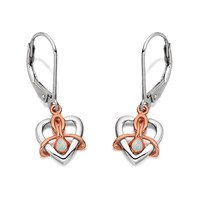 Clogau Silver And 9ct Rose Gold Dwynwen Opal Drop Earrings - G4413