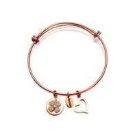Coco88 Sense Expandable Rose Gold Plated Clover And Heart Bangle  J7602
