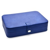 Blue Leather And Grey Suede Jewellery Box  P5534