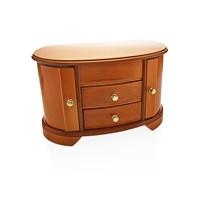 Image of Burl And Oak Finish Wooden Swivel Drawer Jewellery Box - P5647