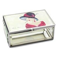 Image of Amelia Fashionplate Glass Bevelled Glass Trinket Box - P6040