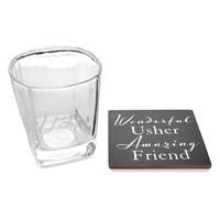 Amore Usher Whiskey Glass And Coaster - P7125