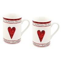 40th Ruby Anniversary Mug Set - P7129