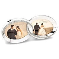 Image of Amore Stone Set Double Ring Photo Frame - P7139