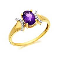9ct Gold Amethyst And Diamond Ring - R0403-N