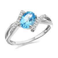9ct White Gold Diamond And Blue Topaz Ring - R0410-K