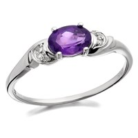 9ct White Gold Amethyst And Diamond Ring  R0413K