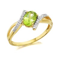 9ct Gold Diamond And Peridot Ring - R0420-L
