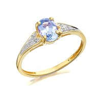 9ct Gold Blue Topaz And Diamond Ring - R0422-J