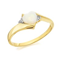 9ct Gold Heart Opal And Diamond Ring - R0423-N